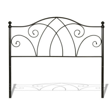 Deland Metal Headboard Panel with Arched Rails and Finial Posts, Brown Sparkle Finish, California (California King King Size Headboard)