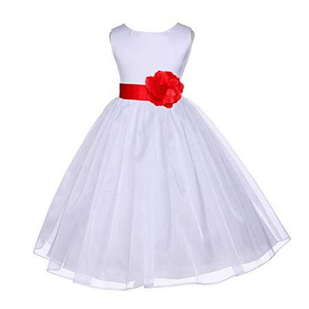 Girls White Summer Dress (Ekidsbridal White Satin Bodice Organza Flower Girl Dress Easter Summer Dresses Communion Dress Baptism Dress Toddler Girl Dresses Birthday Girl Dress Junior Bridesmaid Dress Graduation Dress)