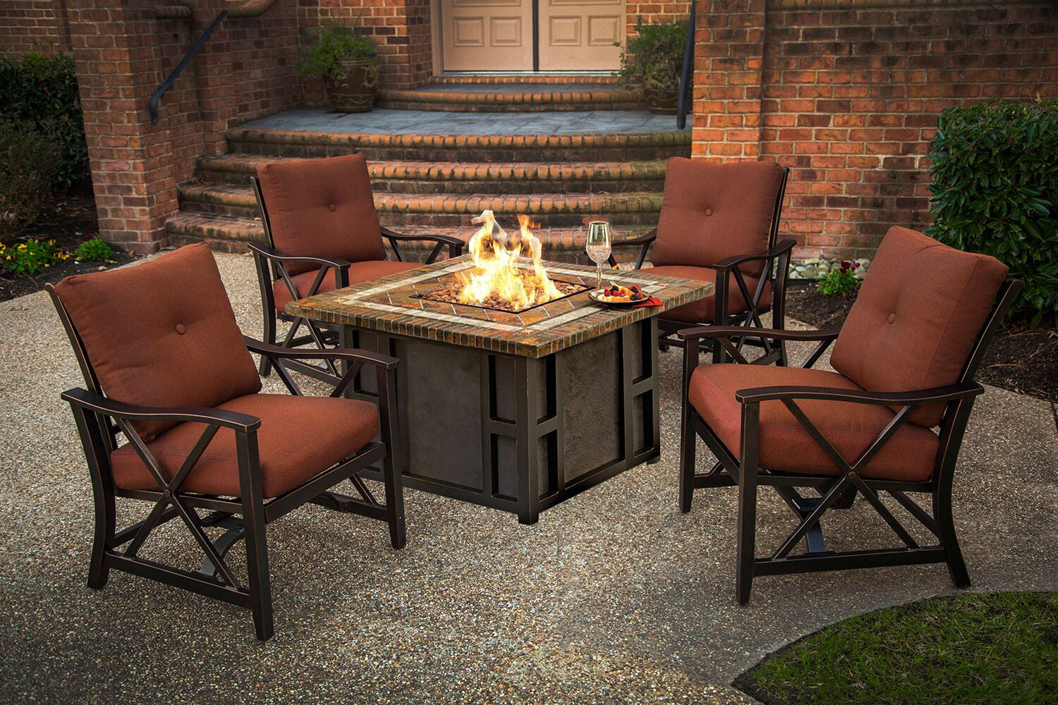 5-Piece Stone Square Gas Fire Pit Table Set w/ Red ...