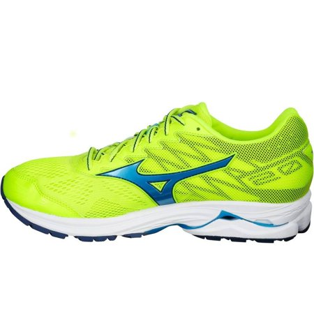 Mizuno Mens Wave Rider 20 Running Shoes Yellow/Blue Size 16