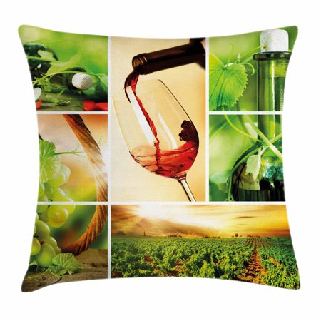 Wine Throw Pillow Cushion Cover, Wine Tasting and Grapevine Collage Green Fresh Field Pouring Drink Delicious, Decorative Square Accent Pillow Case, 16 X 16 Inches, Green Ruby Caramel, by (Grapevine Town Square)