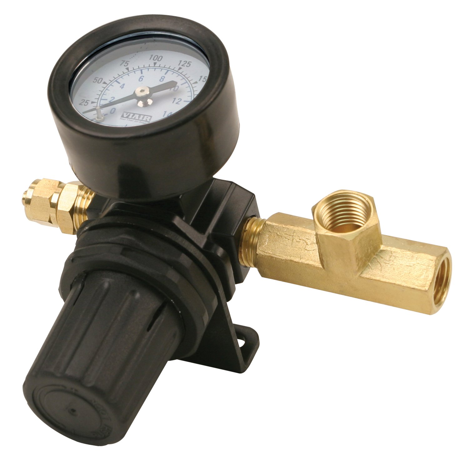 "Viair 0-220 PSI Gauge Air Tank Pressure Regulator with 0.25"" Compression Fitting"