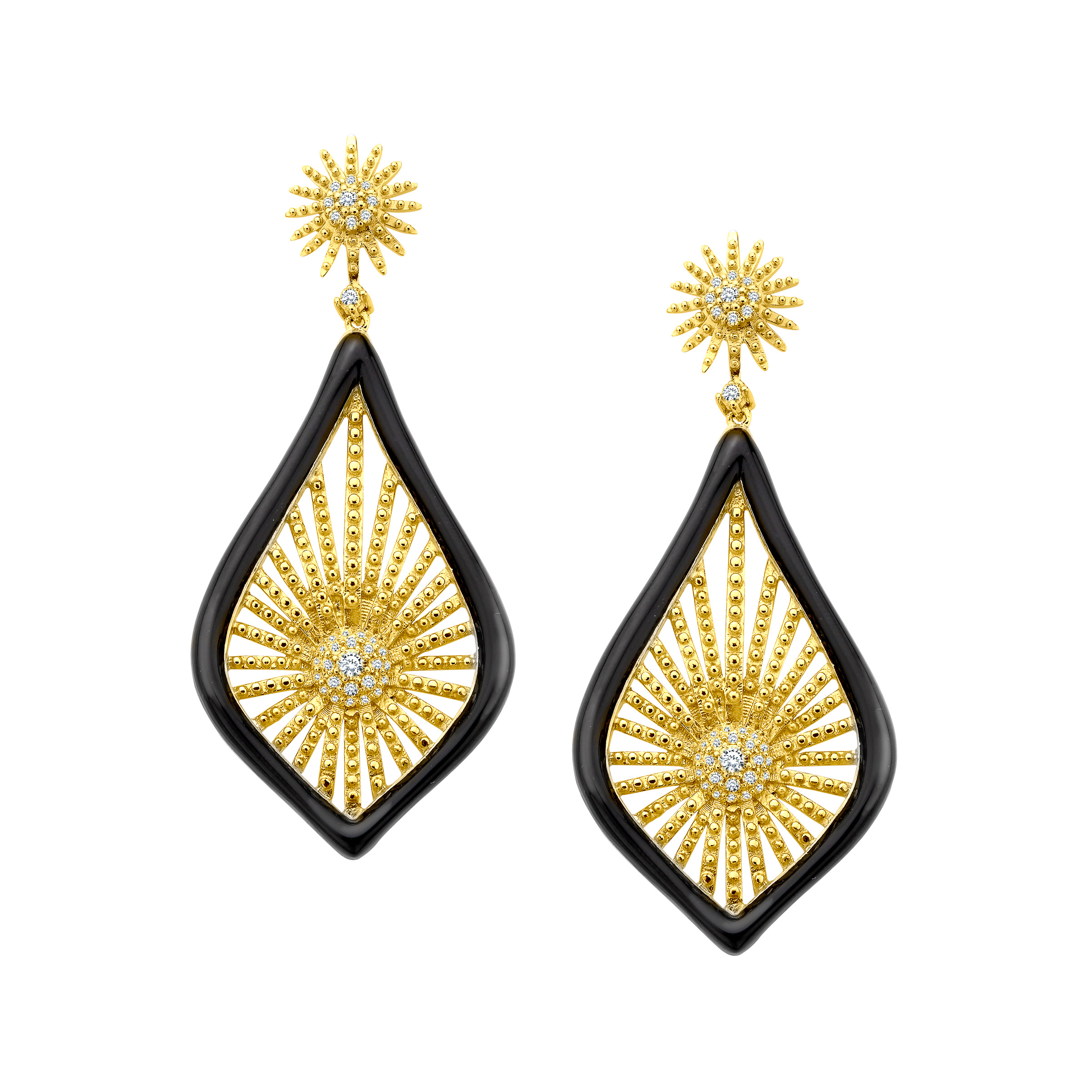 Cristina Sabatini Morning Star Drop Earrings with Cubic Zirconia in 14kt Gold over Sterling Silver