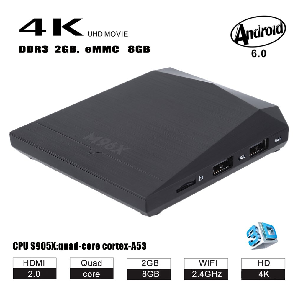 64 Bit High Speed Quad-Core 2GB RAM+8GB ROM 4K HD Smart TV Set Top Box M96X For Android 6.0 Media Player