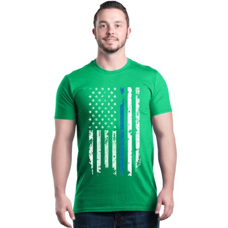 Shop4Ever Men's American Flag Blue Line Patriotic 4th of July Graphic T-shirt](Patriotic Tee Shirts)