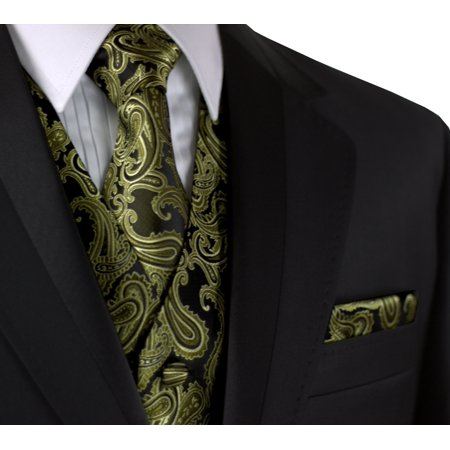 Italian Design, Men's Formal Tuxedo Vest, Tie & Hankie Set for Prom, Wedding, Cruise in Olive Paisley](Lloyd Tuxedo)