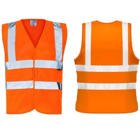 Wideskall® Class 2 High Visibility Polyester ANSI Safety Vest wtih 4 Reflective Strips Orange (XXL) Class 1 Safety Vest