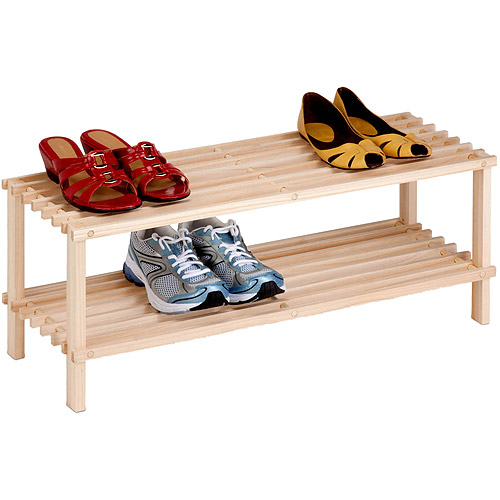 Honey-Can-Do 2-Tier Natural Wood Shoe Rack, Unfinished