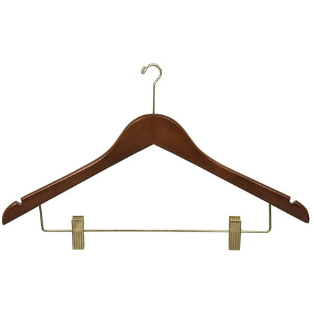 Wood Security Combo Hanger w/ Adjustable Cushion Clips, Box of 50 17 Inch Flat Wooden Hangers w/ Walnut Finish & Brass Mini Hook & Notches for Shirt Jacket or Dress by International Hanger