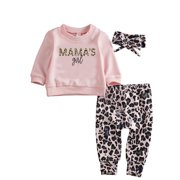 Bmnmsl Newborn Baby Girl Clothes Set Winter Sweathirt Pants Trousers Headband Outfit 0-24 Months