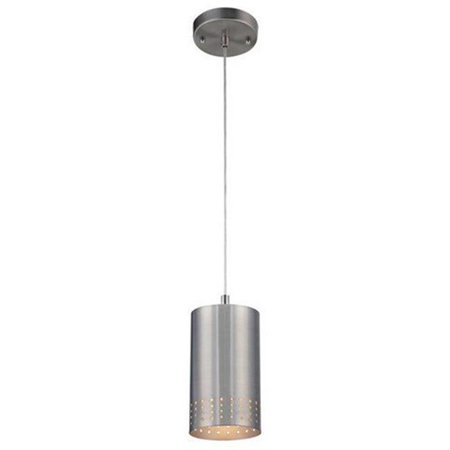 1 Light Cylinder Mini (One Light Adjustable Mini Pendant, Brushed Nickel with Perforated Metal Cylindrical)