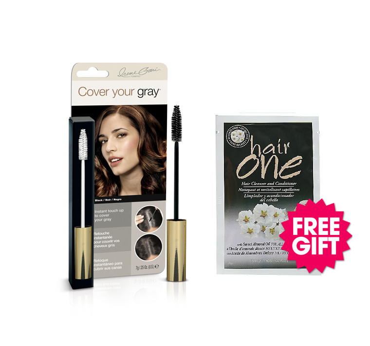 Cover Your Gray Brush In Wand - Black with BONUS Almond Oil Hair Cleanser Packette