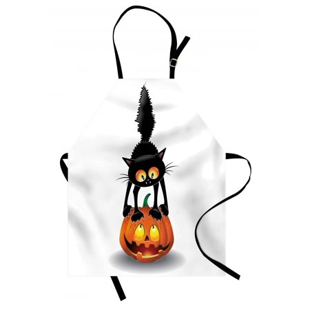 Halloween Apron Black Cat on Pumpkin Drawing Spooky Cartoon Characters Halloween Humor Art, Unisex Kitchen Bib Apron with Adjustable Neck for Cooking Baking Gardening, Orange Black, by Ambesonne](Cooking Ideas For Halloween)