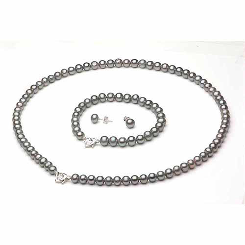 """8-9mm Grey Freshwater Pearl Heart-Shape Sterling Silver Necklace (18""""), Bracelet (7"""") Set with Bonus Pearl... by Jacqueline's Collection"""
