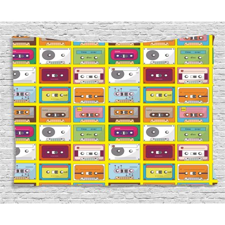 70s Party Decorations Tapestry, Music Tape Artistic Pattern Audio Cassette Oldschool Record Analogue, Wall Hanging for Bedroom Living Room Dorm Decor, 60W X 40L Inches, Multicolor, by Ambesonne - Record Decorations