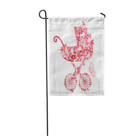 LADDKE Baby Stroller of Flowers for Girls Carriage Party Vintage Little Butterfly Cute Garden Flag Decorative Flag House Banner 12x18 inch (Butterfly Carriage)
