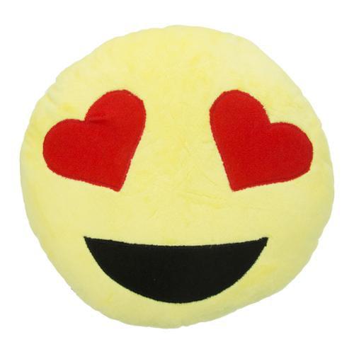 Soft Plush Emoji Pillow Love Or Kiss Emoticon Cushion Toy Round Yellow Smiley