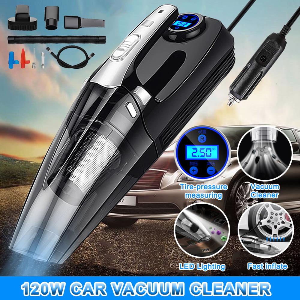 12V 120W 4 in 1 Portable Car Vacuum Cleaner Handheld Tire Gauge Air Compressor