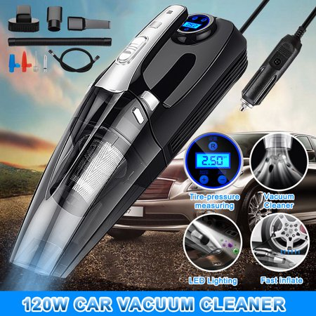 AUGIENB 4-in-1 Car Handheld Vacuum Cleaner with Tire Inflator Pump Pressure Gauge LED Light Air compressor Vacuum Cleaner For Home Auto Car (Grit Hand Cleaner)