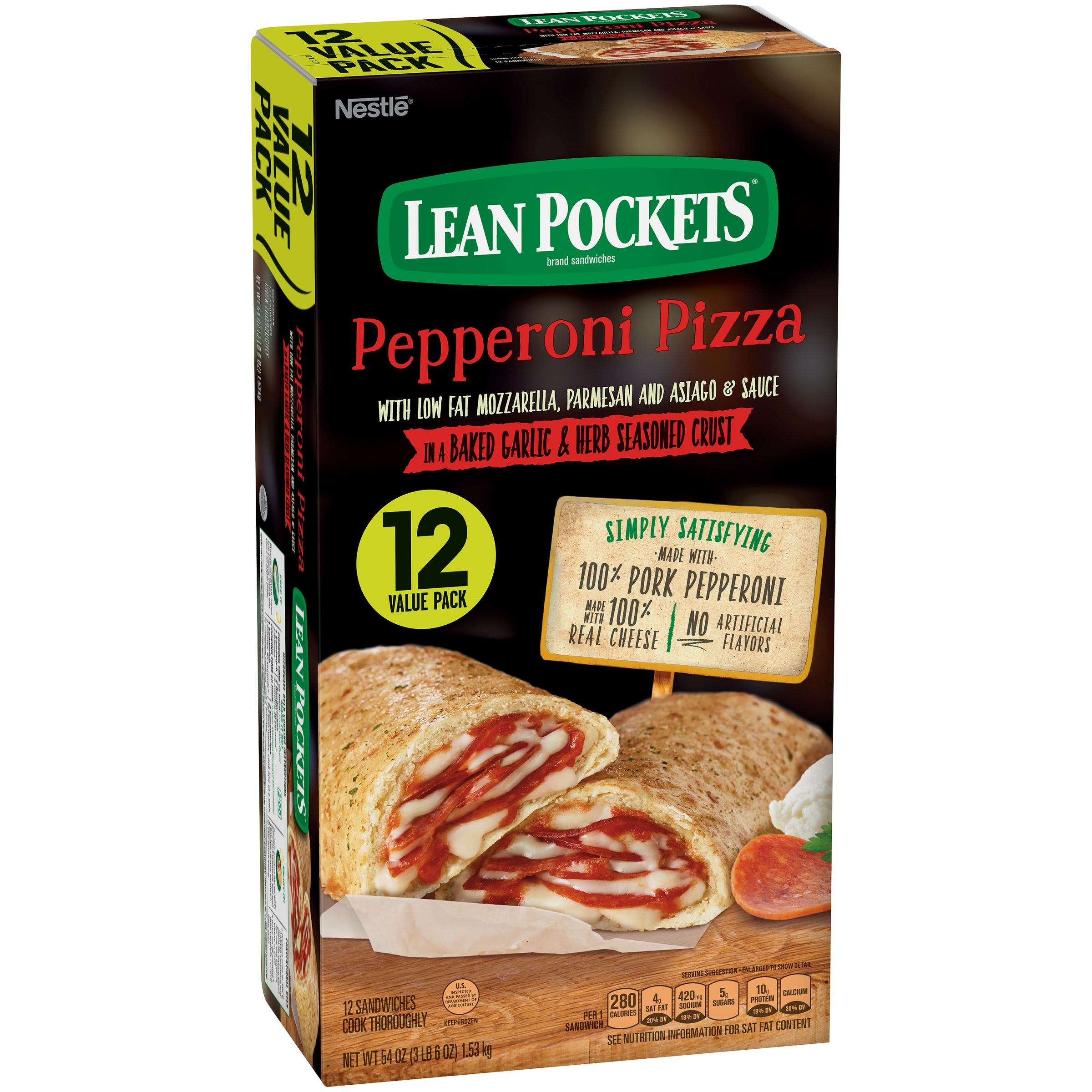 LEAN POCKETS Frozen Sandwiches Pepperoni Pizza 12-Pack
