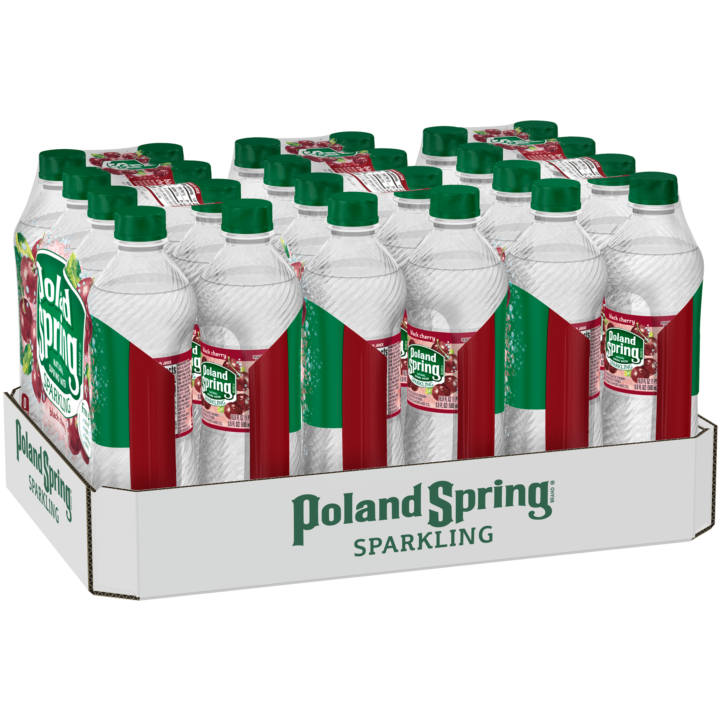 Poland Spring Sparkling Water, Black Cherry, 16.9 oz. Bottles (Pack of 24)