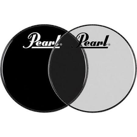 Via Venteo Ebony Pearl - Pearl Logo Front Bass Drum Head Ebony 22 in.