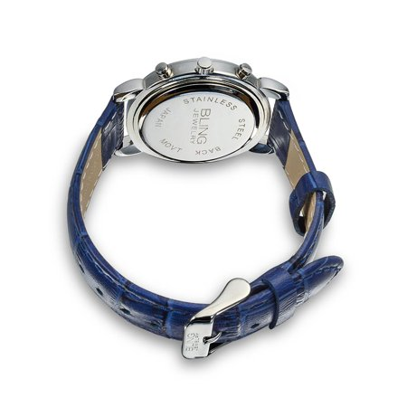 Deco Style Round Crystal Bezel White Dial Fashion Wrist Watch For Women Faux Blue Crocodile Leather Band Steel Back - image 1 of 3