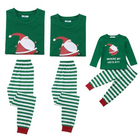 Mom Dad Kid Family Matching Christmas Pajamas Set Santa Claus Top and Striped Pants Sleepwear Outfit