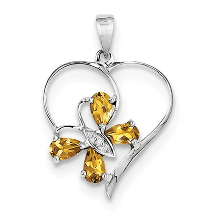 Sterling Silver Rhodium Citrine Diamond Butterfly Heart Pendant