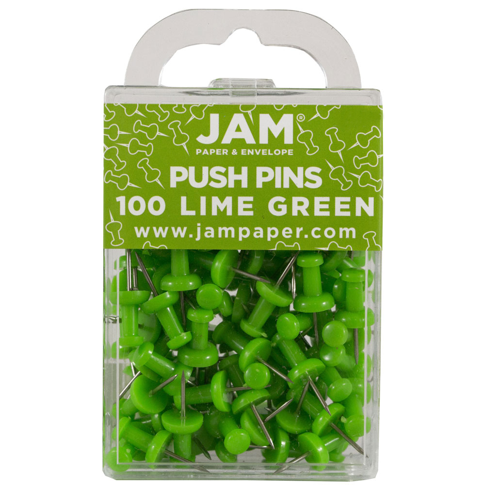 JAM Paper Push Pins - Lime Green Pushpins - 2/Pack