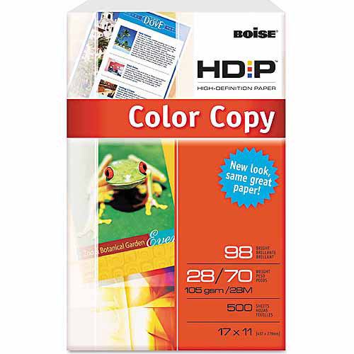 "Boise HD:P Color Copy Paper, 98 Brightness, 11"" x 17"", White, 500 Sheets"