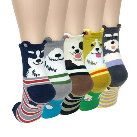 Wrapables® Novelty Animal Print Crew Socks (Set of 5), Cute - Animal Print Socks