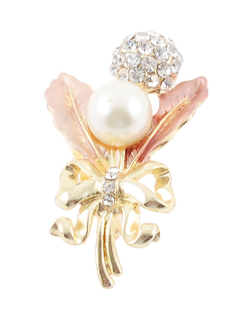Unique Bargains Unique Bargains Lady Glitter Rhinestone Faux Pearl Bowknot Decor Light Pink Leave Pin Brooch
