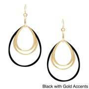 Alexa Starr  Goldtone and Black Multi-ring Teardrop-shaped Earrings