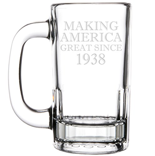 12oz Beer Mug Stein Glass Making America Great Since 1938 80th Birthday by