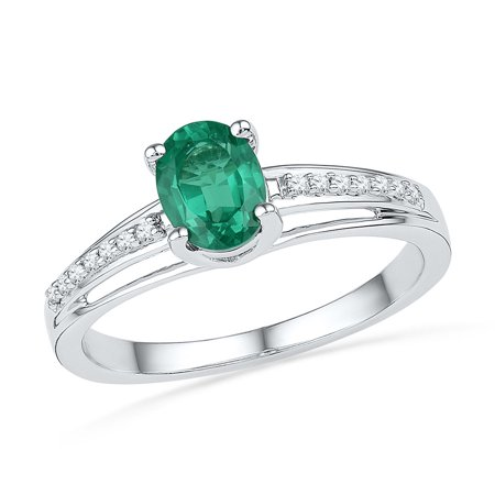 Size - 7 - Solid 10k White Gold Oval Round Green Simulated Emerald And White Diamond Engagement Ring OR Fashion Band Prong Set Solitaire Shaped Ring (.07 cttw)