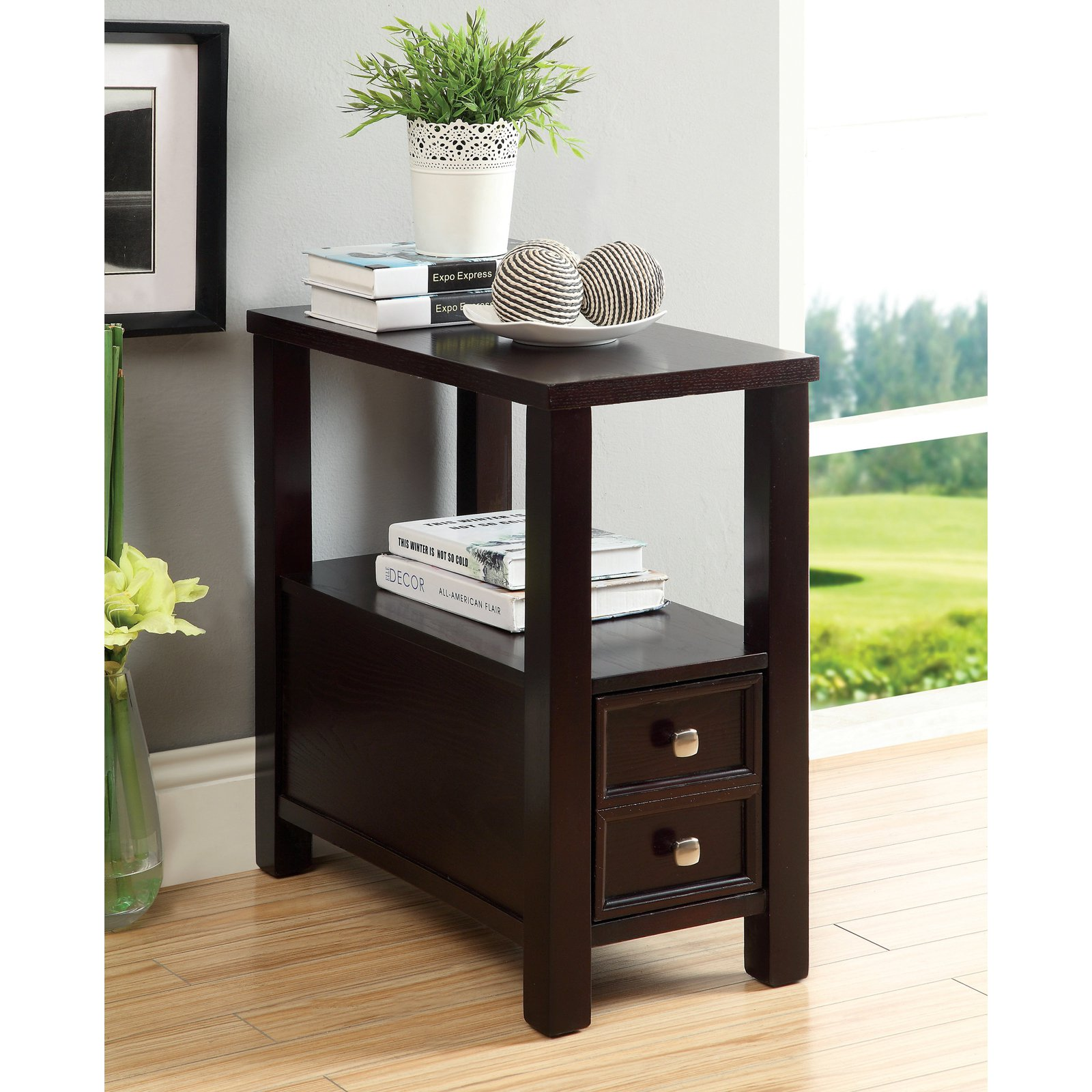 Furniture of America Townsville Double Drawer Side Accent Table - Espresso