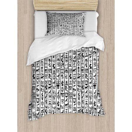 Egyptian Duvet Cover Set, Vertical Borders with Hieroglyphics Alphabet  Ancient Language Symbols Cultural, Decorative Bedding Set with Pillow  Shams,