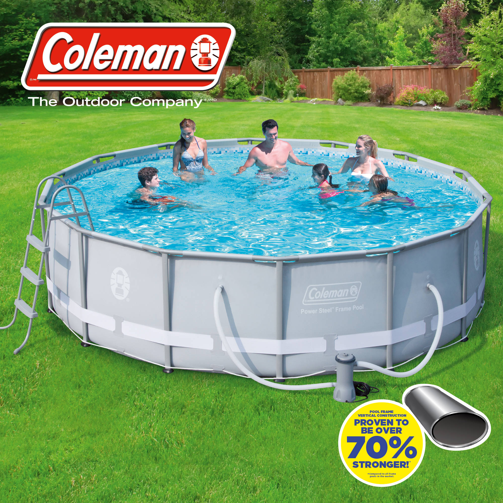 "Coleman 14' x 42"" Power Steel Frame Above-Ground Swimming Pool Set"