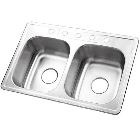 (Double Bowl Self-rimming 33-inch Stainless Steel Kitchen Sink with 5 holes)