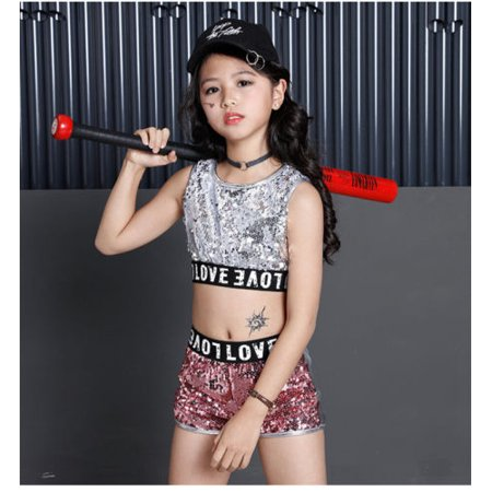 Street Dance Wear Costume Girls Performance Sequins Modern Kids Hip Hop