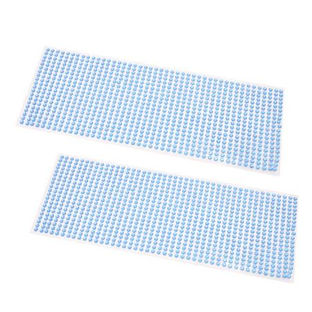 2Pcs Light Blue 4mm Self Adhesive Bling Rhinestone DIY Car Phone Styling Sticker Decor Decal
