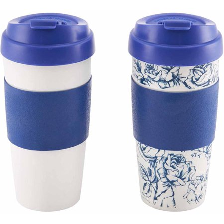 Design for Living 16 oz Mug, Blue and Sketch Flower Pattern, Set of 2 ()