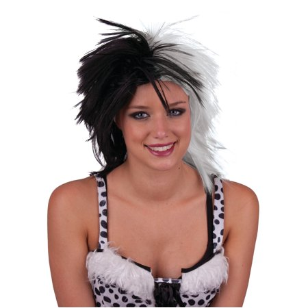 Funny Fashion Cruella Evil Villain Halloween Costume Wig, Black White, One-Size