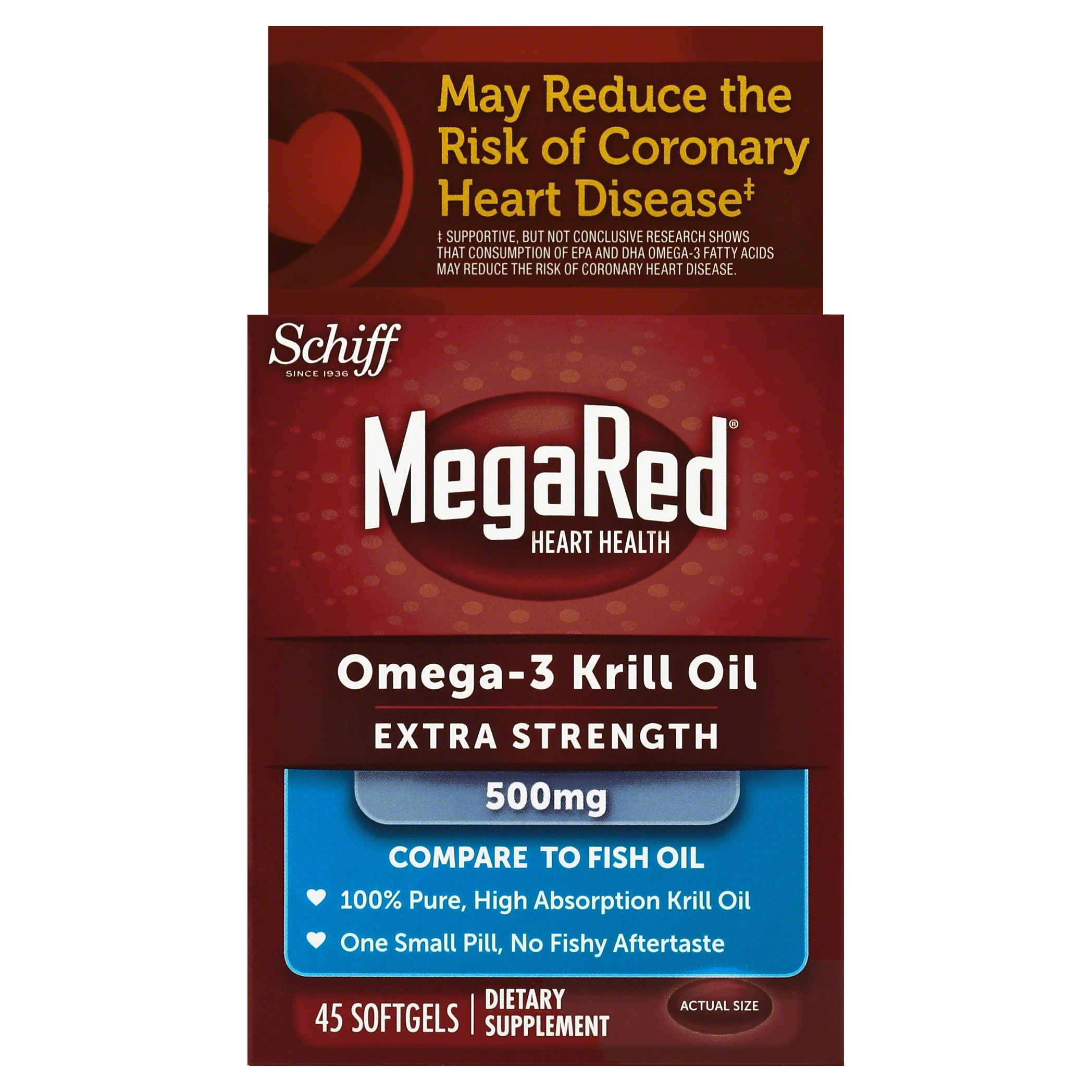 MegaRed Extra Strength Omega 3 Krill Oil 500mg Supplement, 45 Count