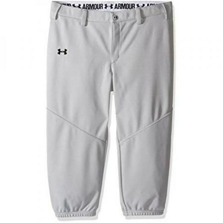 Under Armour Girls' Base Runner Softball Pants, Baseball GrayBlack, Youth X Large