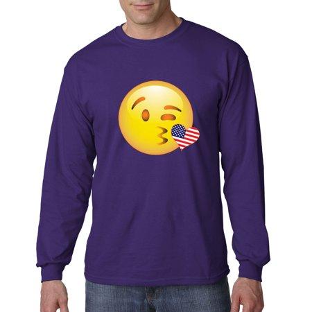 Image of Trendy USA 473 - Unisex Long-Sleeve T-Shirt Emoji Smiley Winking Kiss USA Heart Flag 4th July 2XL Purple