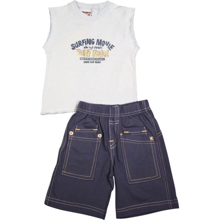 Mish Mish Baby Boys Infant Cotton Knit Sleeveless Tee Short Sets, 6220 Blue Surfing Movie Surfer / 6Months