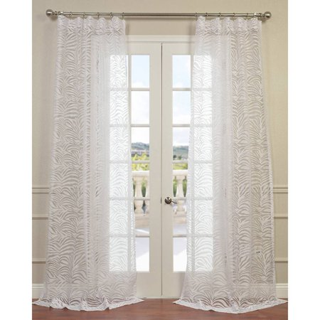 Exclusive Fabrics Zara White 84 Inch 96 Inch 108 Inch 120 Inch Curtain Panel