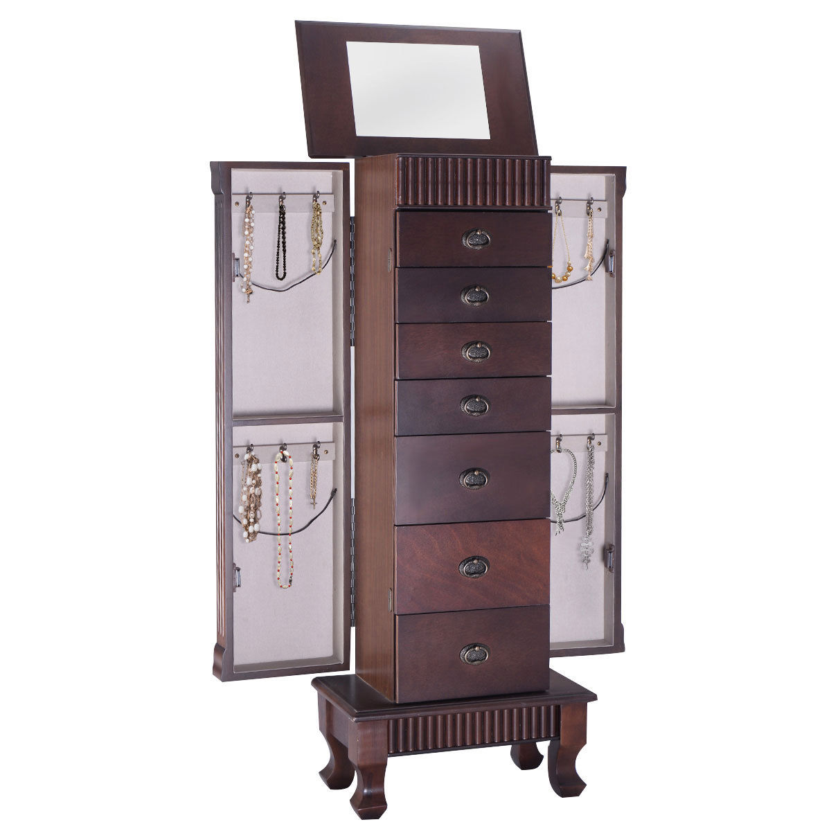 Costway Jewelry Cabinet Armoire Box Storage Chest Stand Organizer Necklace Wood